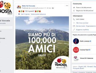 Mela Val Venosta è sempre più social. Raggiunti i 100 mila fan su Facebook