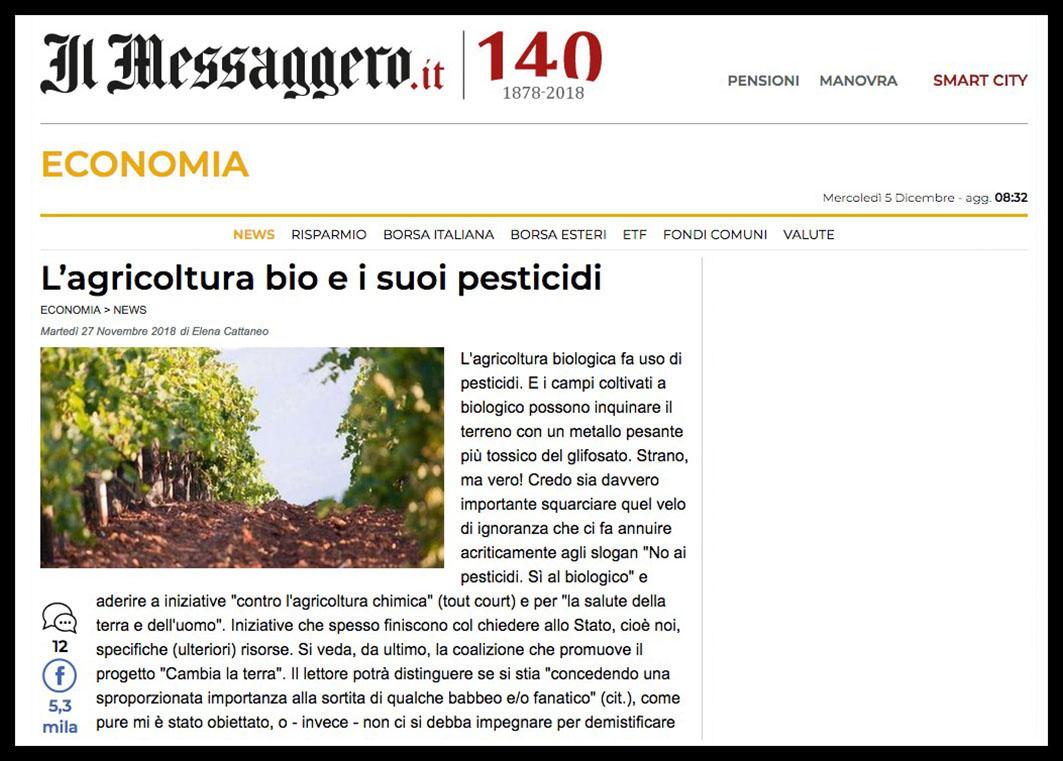 Messaggero biologico articolo